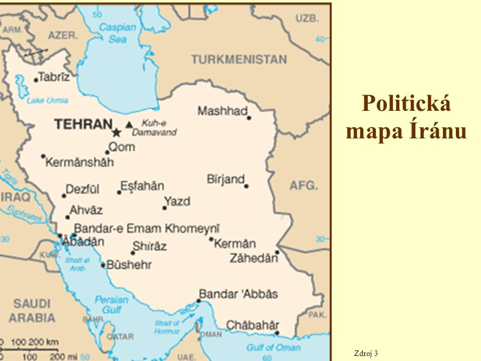 Vnitrozemská plavba vodní cesty v zemi tvoří Šatt al´Arab a její levostranný přítok Kárún – Šatt al´Arab vzniká soutokem řek Eufrat a Tigris – protéká Mezopotámskou nížinou a ústí do Perského zálivu – řeka Kárún je splavná do Ahvázu – přístav na řece Šatt al´Arab se nazývá Abádán Najděte na mapě všechny tučně napsané zeměpisné pojmy tohoto snímku.