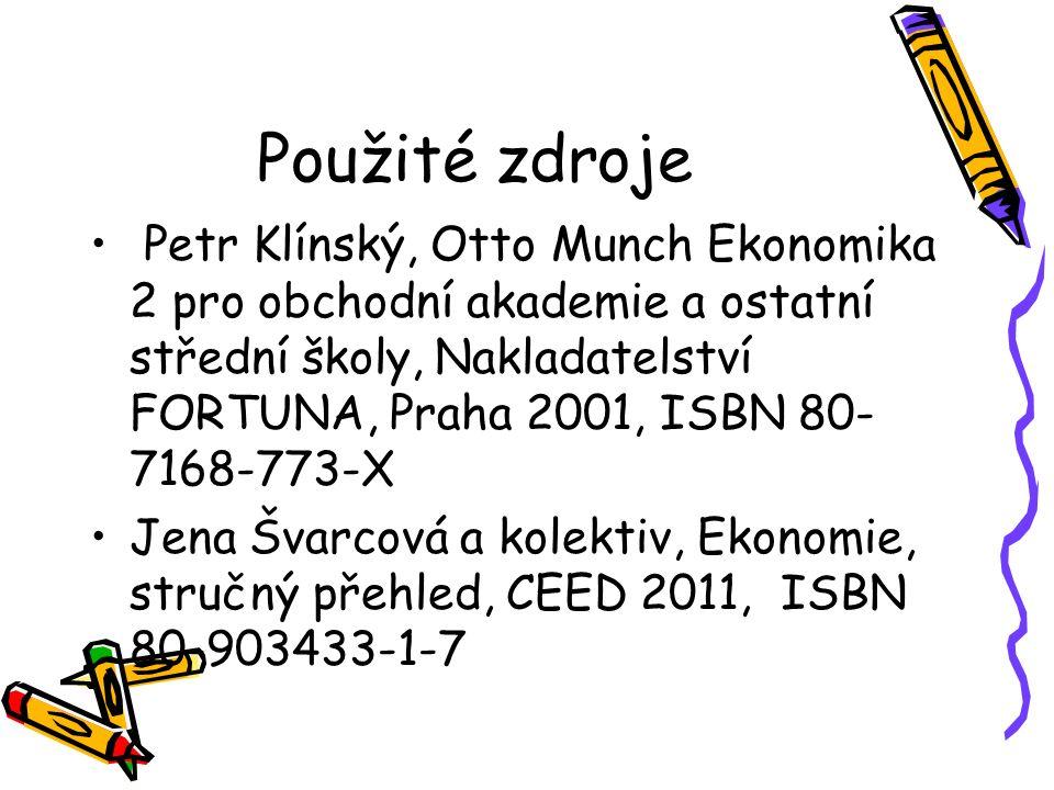 Použité zdroje Petr Klínský, Otto Munch Ekonomika 2 pro obchodní akademie a ostatní střední školy, Nakladatelství FORTUNA, Praha 2001, ISBN 80- 7168-773-X Jena Švarcová a kolektiv, Ekonomie, stručný přehled, CEED 2011, ISBN 80-903433-1-7