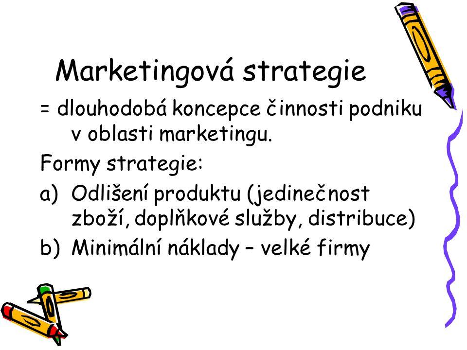 Marketingová strategie = dlouhodobá koncepce činnosti podniku v oblasti marketingu. Formy strategie: a)Odlišení produktu (jedinečnost zboží, doplňkové