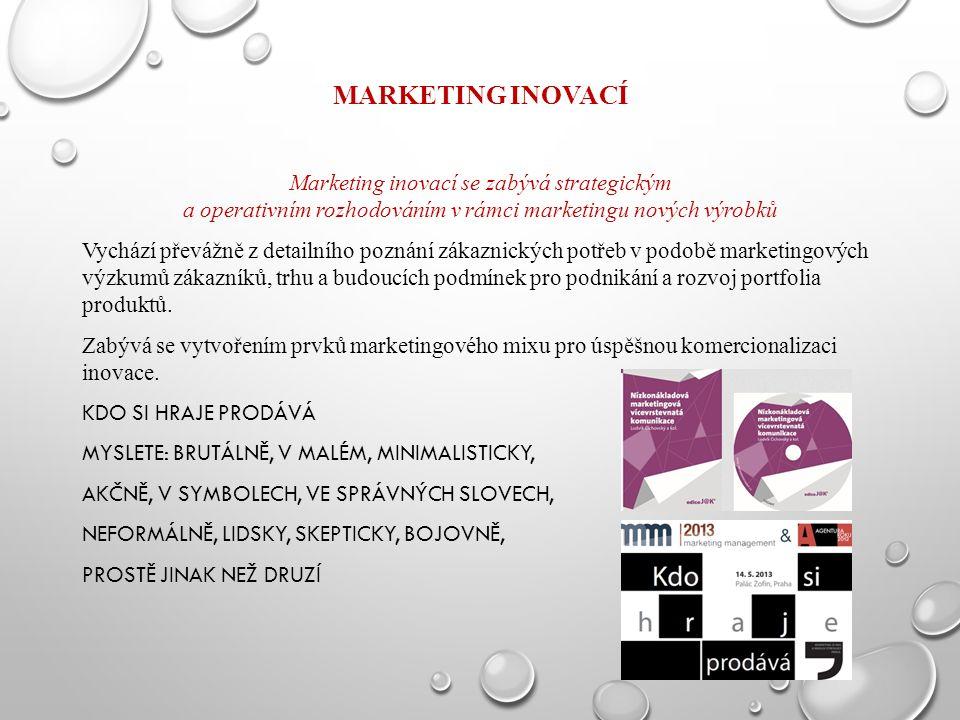 MARKETING INOVACÍ Marketing inovací se zabývá strategickým a operativním rozhodováním v rámci marketingu nových výrobků Vychází převážně z detailního poznání zákaznických potřeb v podobě marketingových výzkumů zákazníků, trhu a budoucích podmínek pro podnikání a rozvoj portfolia produktů.