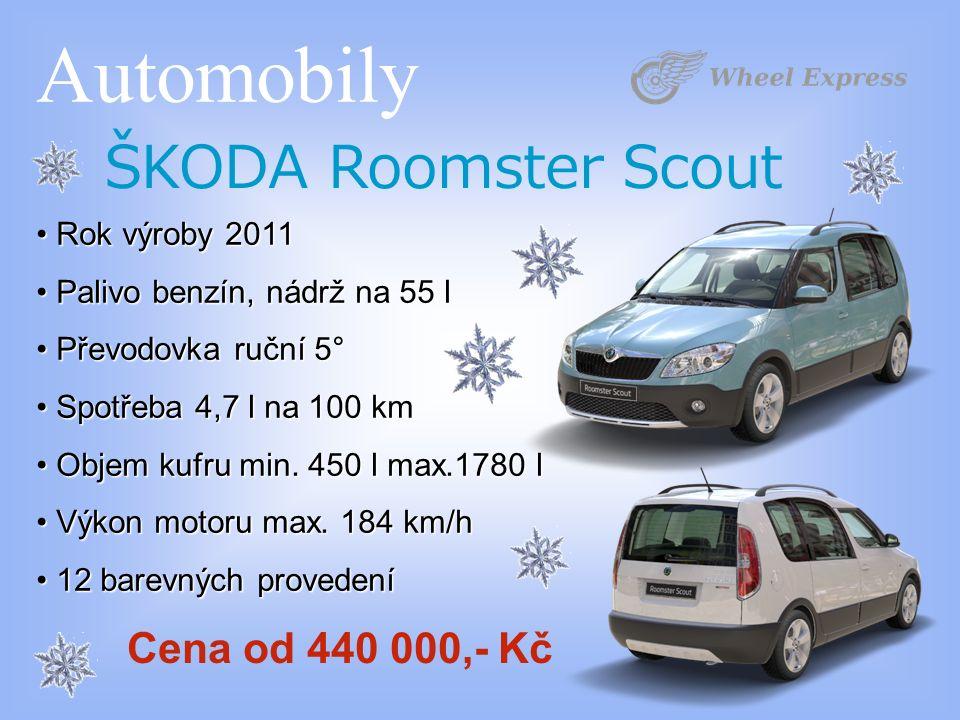 Automobily ŠKODA Roomster Scout Rok výroby 2011 Rok výroby 2011 Palivo benzín, nádrž na 55 l Palivo benzín, nádrž na 55 l Převodovka ruční 5° Převodovka ruční 5° Spotřeba 4,7 l na 100 km Spotřeba 4,7 l na 100 km Objem kufru min.