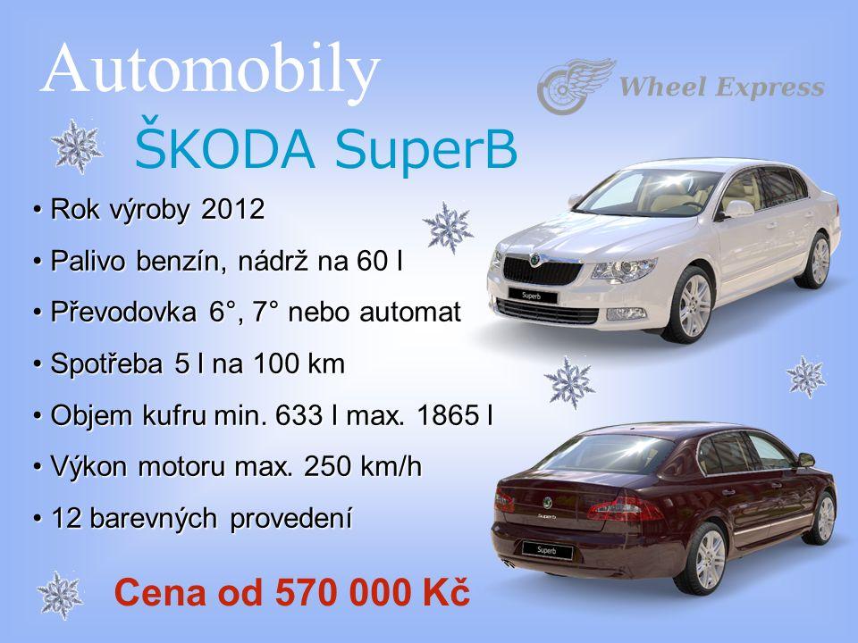 Automobily ŠKODA SuperB Rok výroby 2012 Rok výroby 2012 Palivo benzín, nádrž na 60 l Palivo benzín, nádrž na 60 l Převodovka 6°, 7° nebo automat Převo