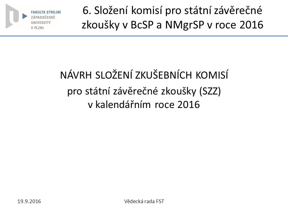 6. Složení komisí pro státní závěrečné zkoušky v BcSP a NMgrSP v roce 2016 NÁVRH SLOŽENÍ ZKUŠEBNÍCH KOMISÍ pro státní závěrečné zkoušky (SZZ) v kalend