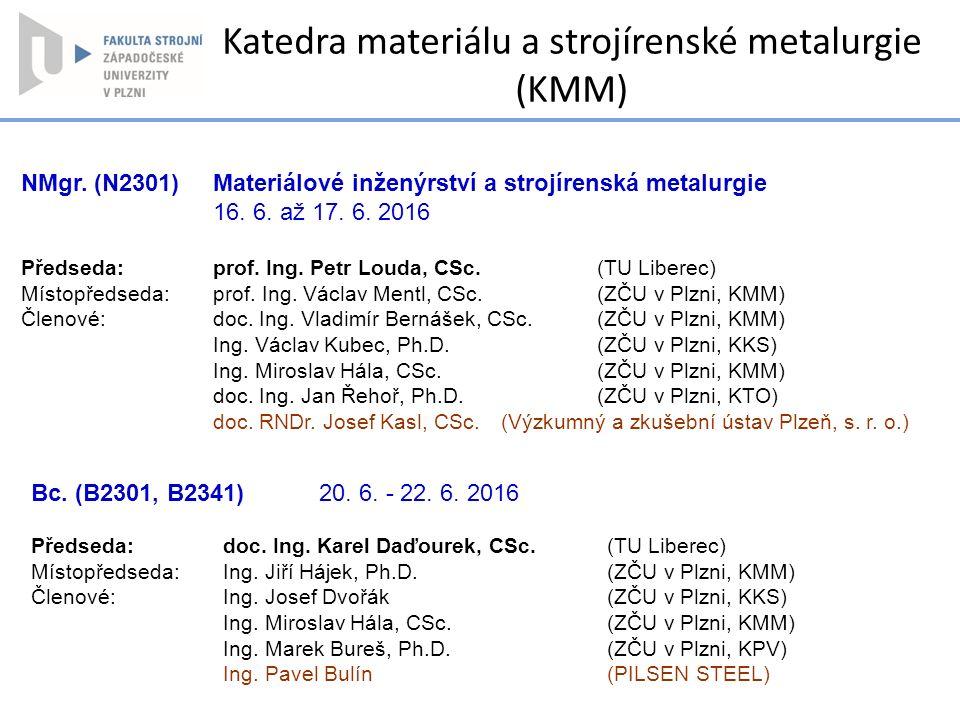 NMgr. (N2301) Materiálové inženýrství a strojírenská metalurgie 16. 6. až 17. 6. 2016 Předseda: prof. Ing. Petr Louda, CSc. (TU Liberec) Místopředseda