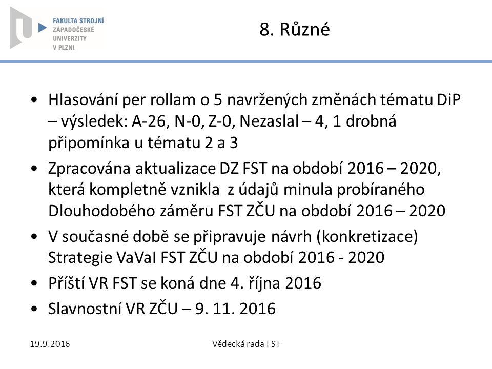 8. Různé Hlasování per rollam o 5 navržených změnách tématu DiP – výsledek: A-26, N-0, Z-0, Nezaslal – 4, 1 drobná připomínka u tématu 2 a 3 Zpracován