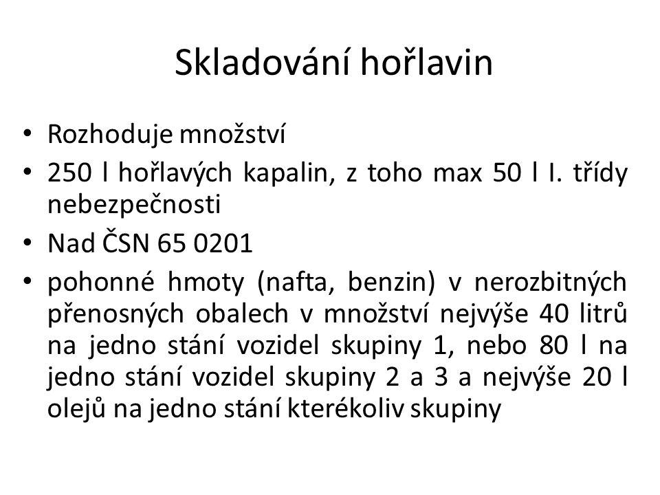 Skladování hořlavin Rozhoduje množství 250 l hořlavých kapalin, z toho max 50 l I.