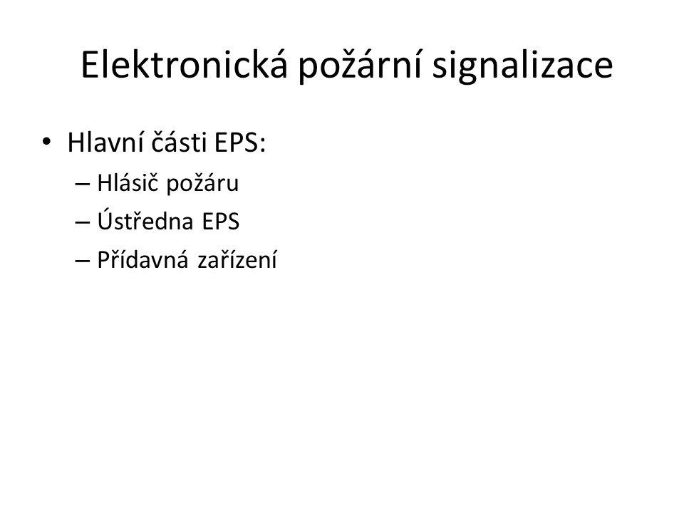 Elektronická požární signalizace Hlavní části EPS: – Hlásič požáru – Ústředna EPS – Přídavná zařízení