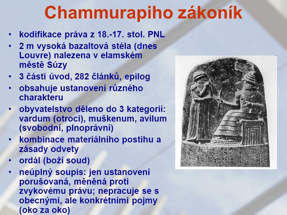 Chammurapiho zákoník kodifikace práva z 18.-17. stol. PNL 2 m vysoká bazaltová stéla (dnes Louvre) nalezena v elamském městě Súzy 3 části úvod, 282 čl