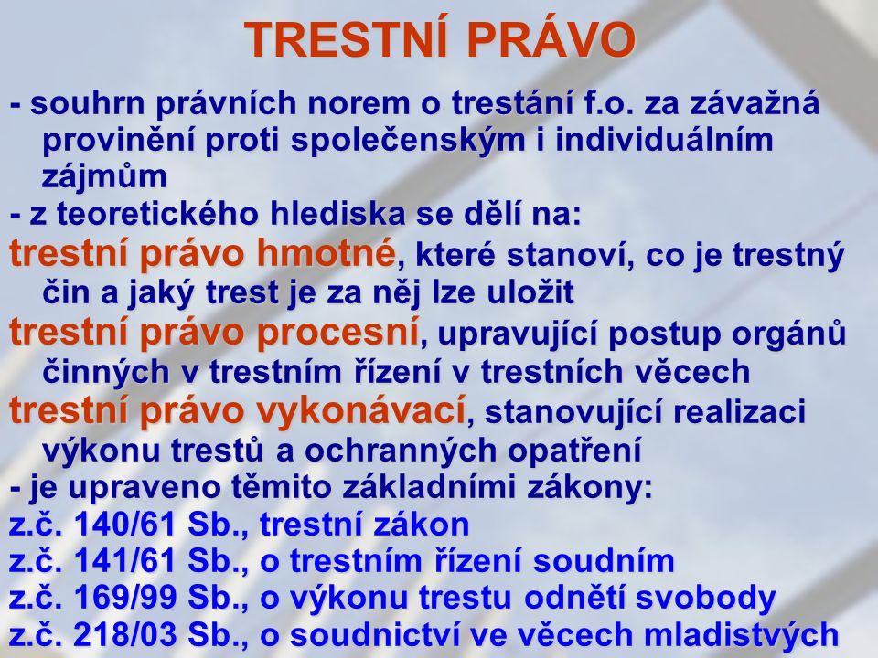 TRESTNÍ PRÁVO - souhrn právních norem o trestání f.o.