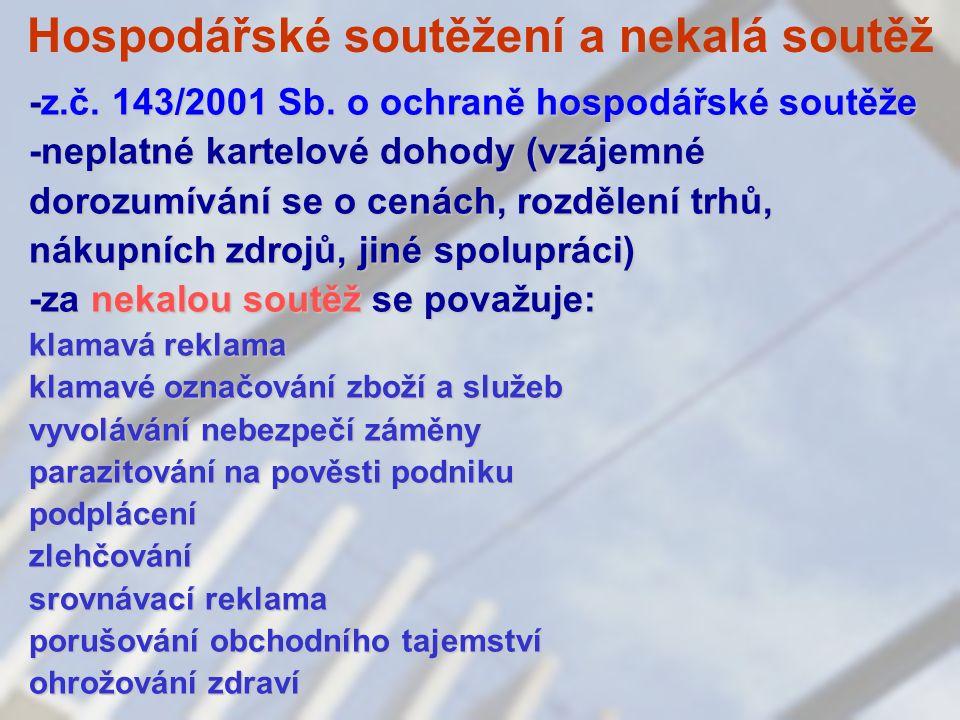 Hospodářské soutěžení a nekalá soutěž -z.č. 143/2001 Sb.