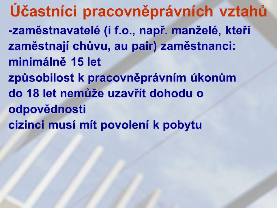 Účastníci pracovněprávních vztahů -zaměstnavatelé (i f.o., např.