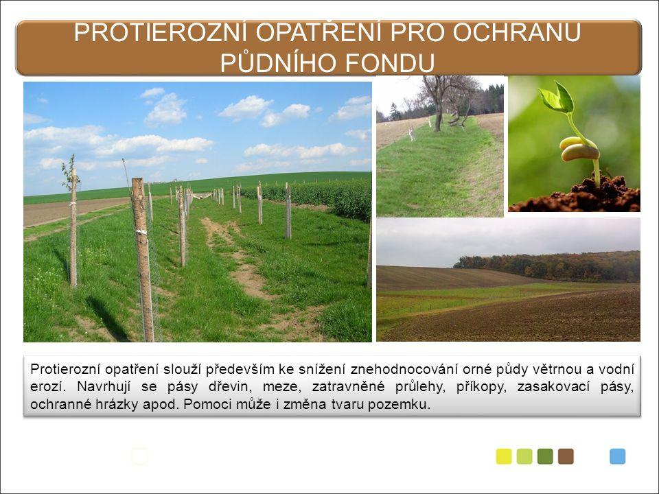 PROTIEROZNÍ OPATŘENÍ PRO OCHRANU PŮDNÍHO FONDU Protierozní opatření slouží především ke snížení znehodnocování orné půdy větrnou a vodní erozí.