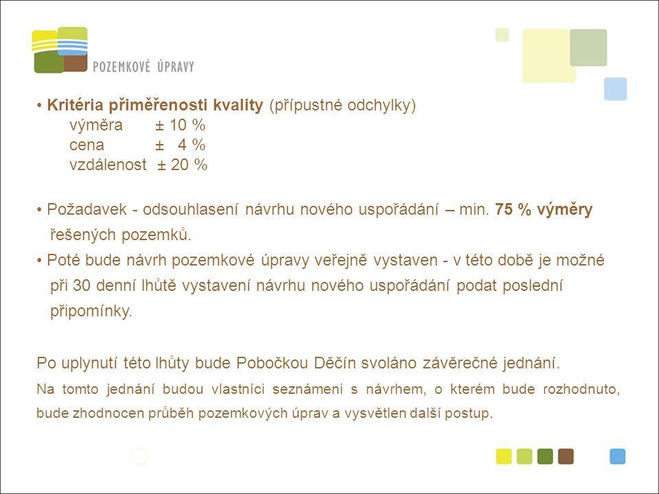 Kritéria přiměřenosti kvality (přípustné odchylky) výměra ± 10 % cena ± 4 % vzdálenost ± 20 % Požadavek - odsouhlasení návrhu nového uspořádání – min.