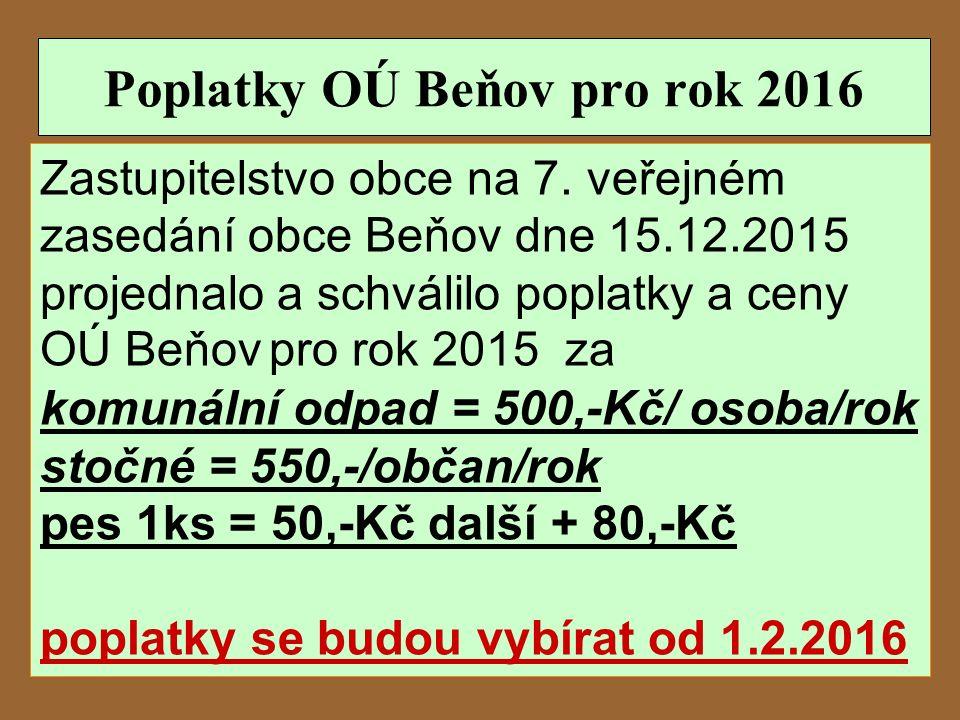 Poplatky OÚ Beňov pro rok 2016 Zastupitelstvo obce na 7.