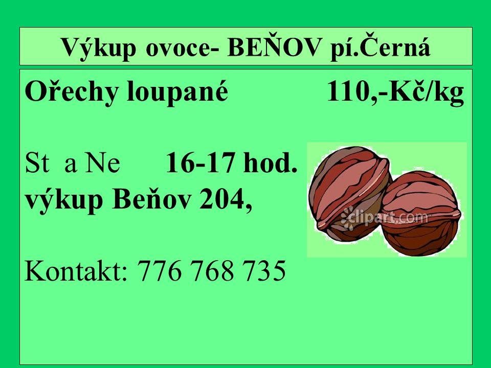 Výkup ovoce- BEŇOV pí.Černá Ořechy loupané 110,-Kč/kg St a Ne 16-17 hod.