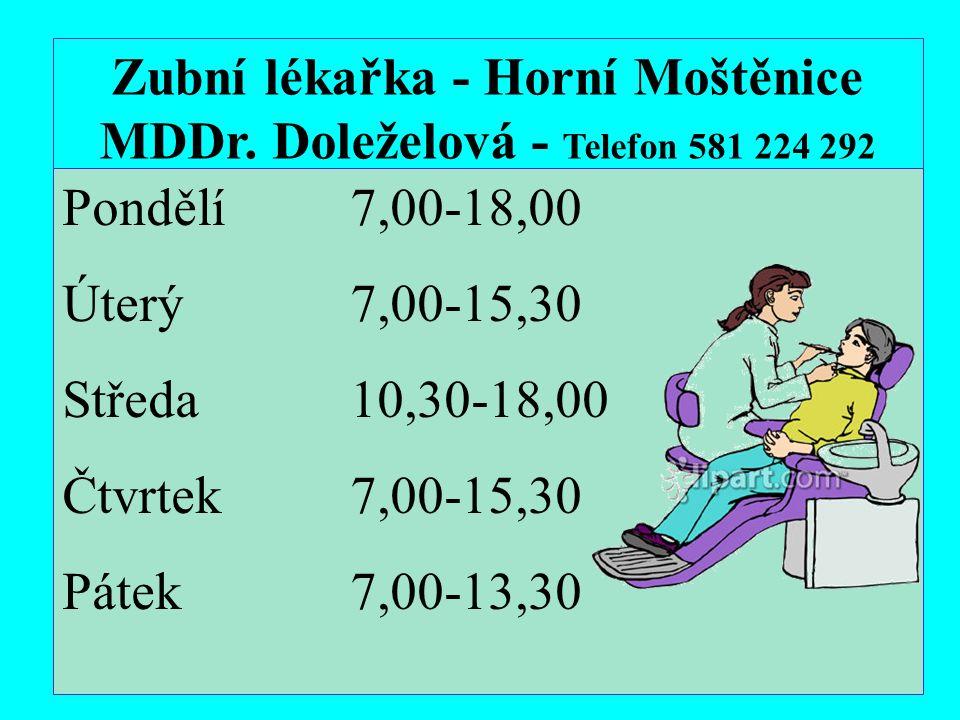 Zubní lékařka - Horní Moštěnice MDDr.