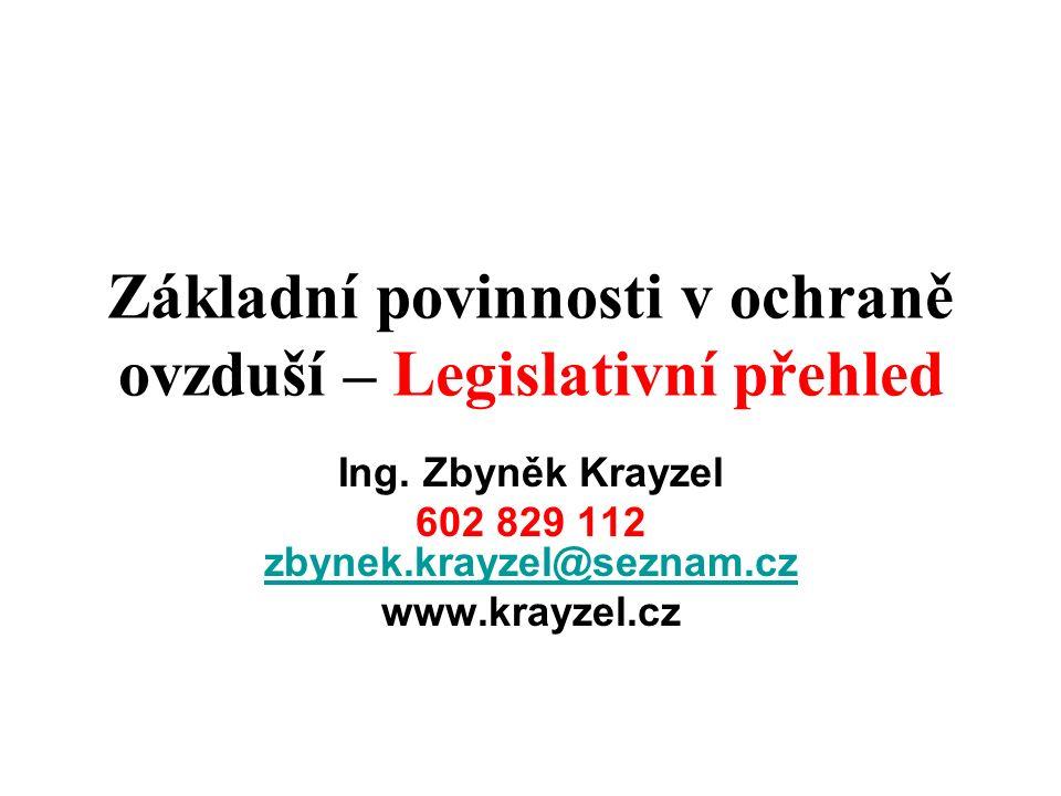 Základní povinnosti v ochraně ovzduší – Legislativní přehled Ing. Zbyněk Krayzel 602 829 112 zbynek.krayzel@seznam.cz zbynek.krayzel@seznam.cz www.kra