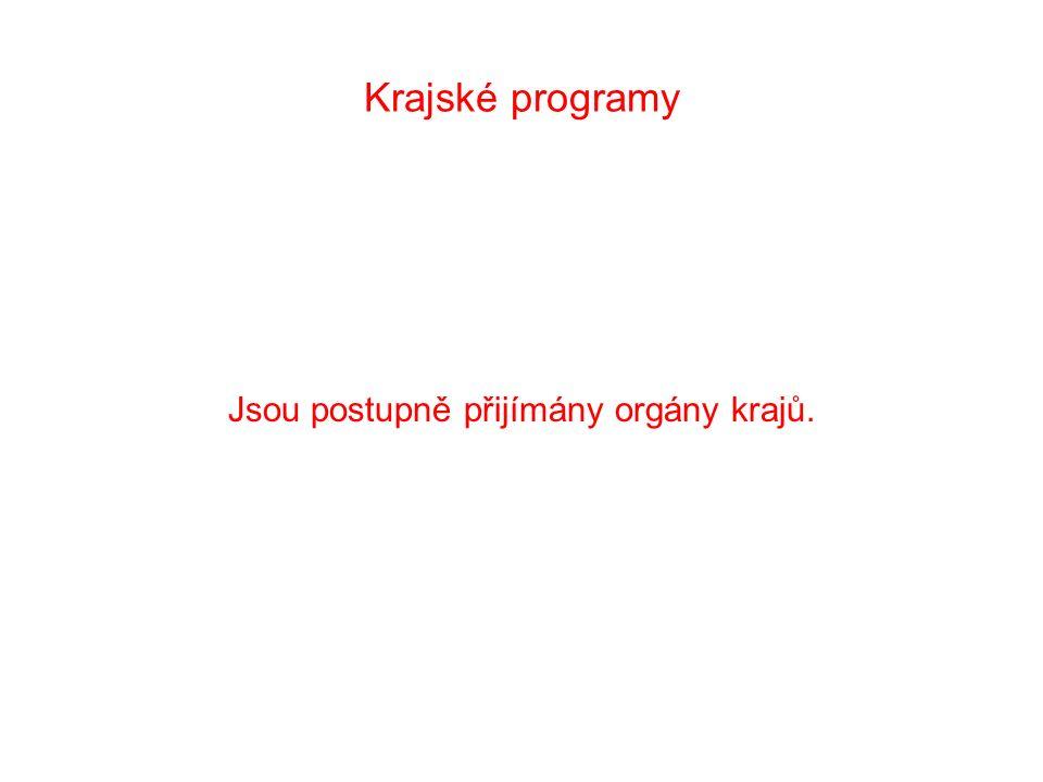 Krajské programy Jsou postupně přijímány orgány krajů.