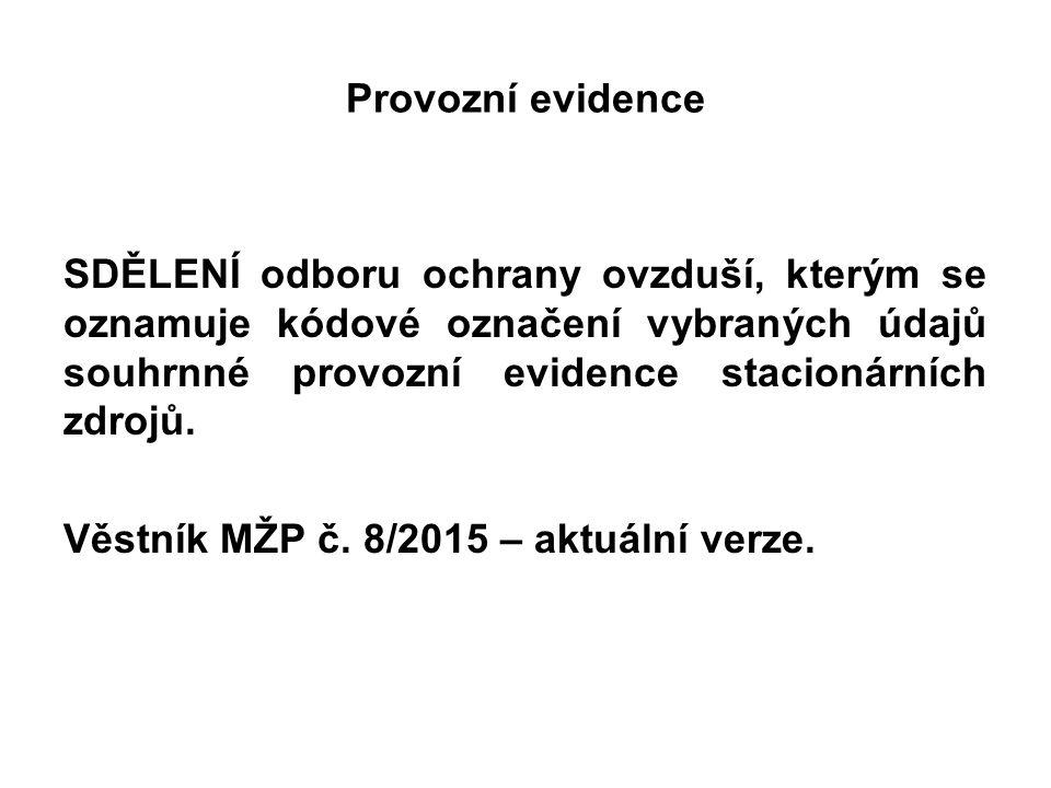 Provozní evidence SDĚLENÍ odboru ochrany ovzduší, kterým se oznamuje kódové označení vybraných údajů souhrnné provozní evidence stacionárních zdrojů.
