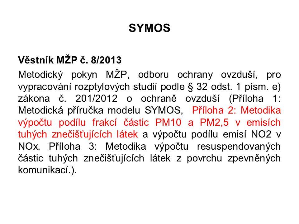 SYMOS Věstník MŽP č. 8/2013 Metodický pokyn MŽP, odboru ochrany ovzduší, pro vypracování rozptylových studií podle § 32 odst. 1 písm. e) zákona č. 201