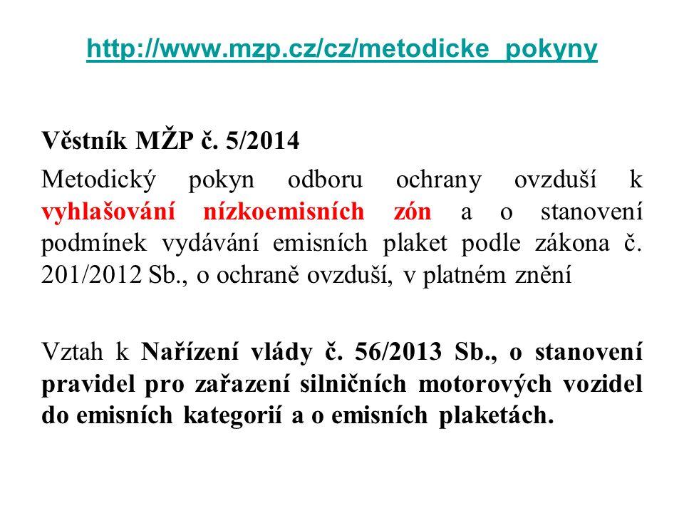 http://www.mzp.cz/cz/metodicke_pokyny Věstník MŽP č. 5/2014 Metodický pokyn odboru ochrany ovzduší k vyhlašování nízkoemisních zón a o stanovení podmí