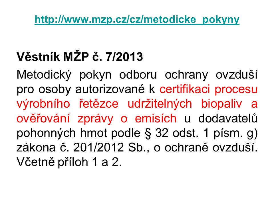http://www.mzp.cz/cz/metodicke_pokyny Věstník MŽP č. 7/2013 Metodický pokyn odboru ochrany ovzduší pro osoby autorizované k certifikaci procesu výrobn