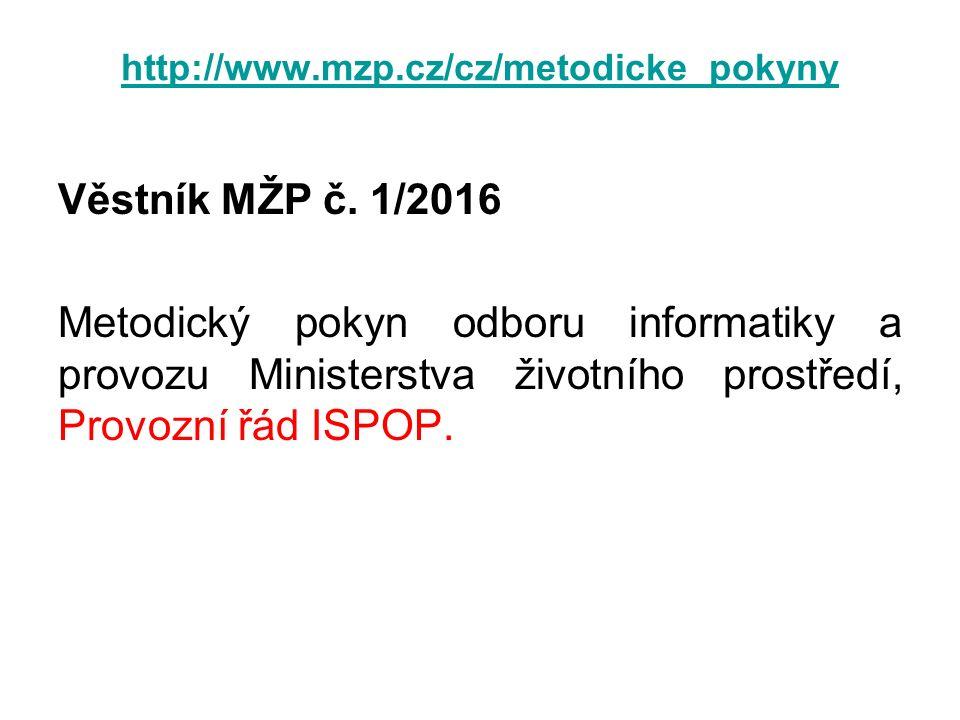 http://www.mzp.cz/cz/metodicke_pokyny Věstník MŽP č. 1/2016 Metodický pokyn odboru informatiky a provozu Ministerstva životního prostředí, Provozní řá
