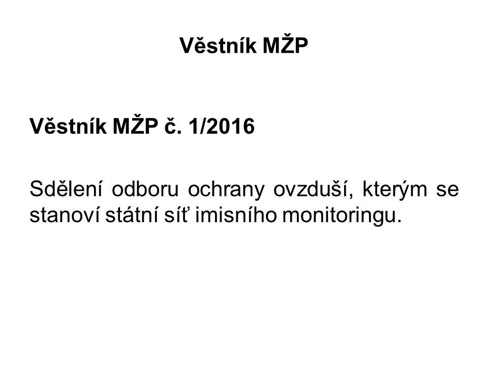 Věstník MŽP Věstník MŽP č. 1/2016 Sdělení odboru ochrany ovzduší, kterým se stanoví státní síť imisního monitoringu.
