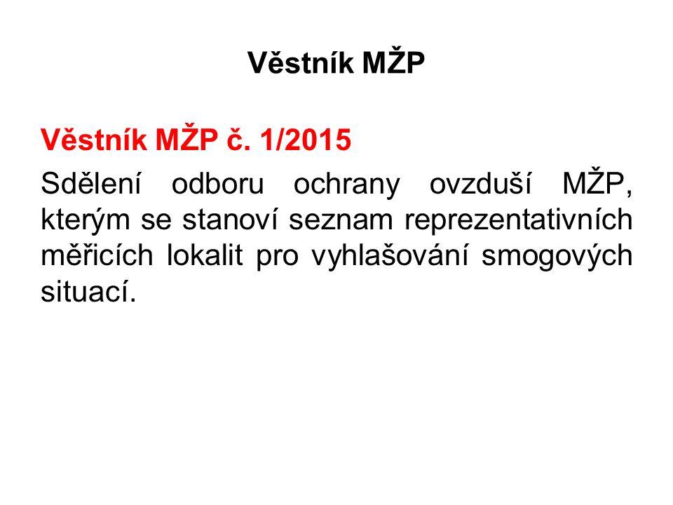 Věstník MŽP Věstník MŽP č. 1/2015 Sdělení odboru ochrany ovzduší MŽP, kterým se stanoví seznam reprezentativních měřicích lokalit pro vyhlašování smog