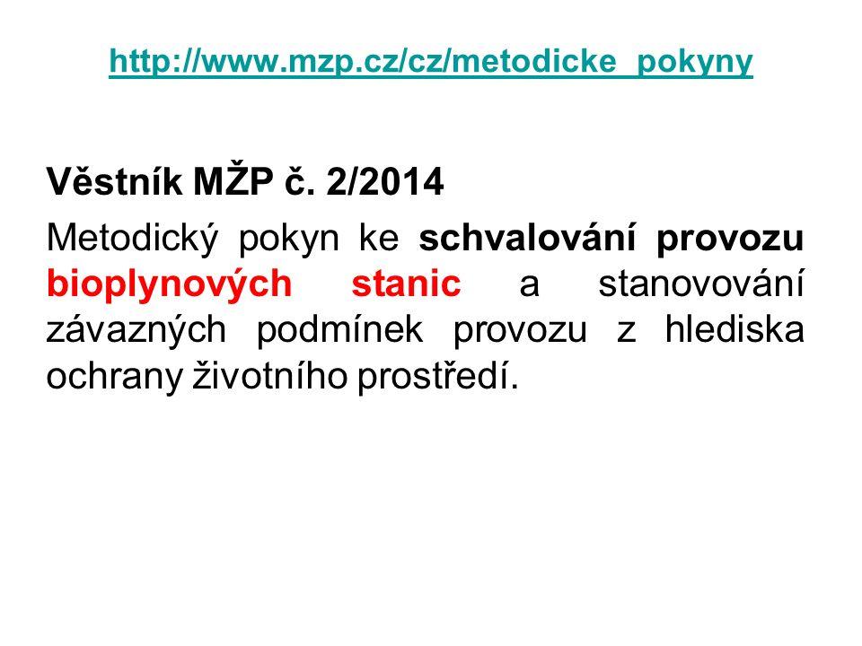 http://www.mzp.cz/cz/metodicke_pokyny Věstník MŽP č. 2/2014 Metodický pokyn ke schvalování provozu bioplynových stanic a stanovování závazných podmíne