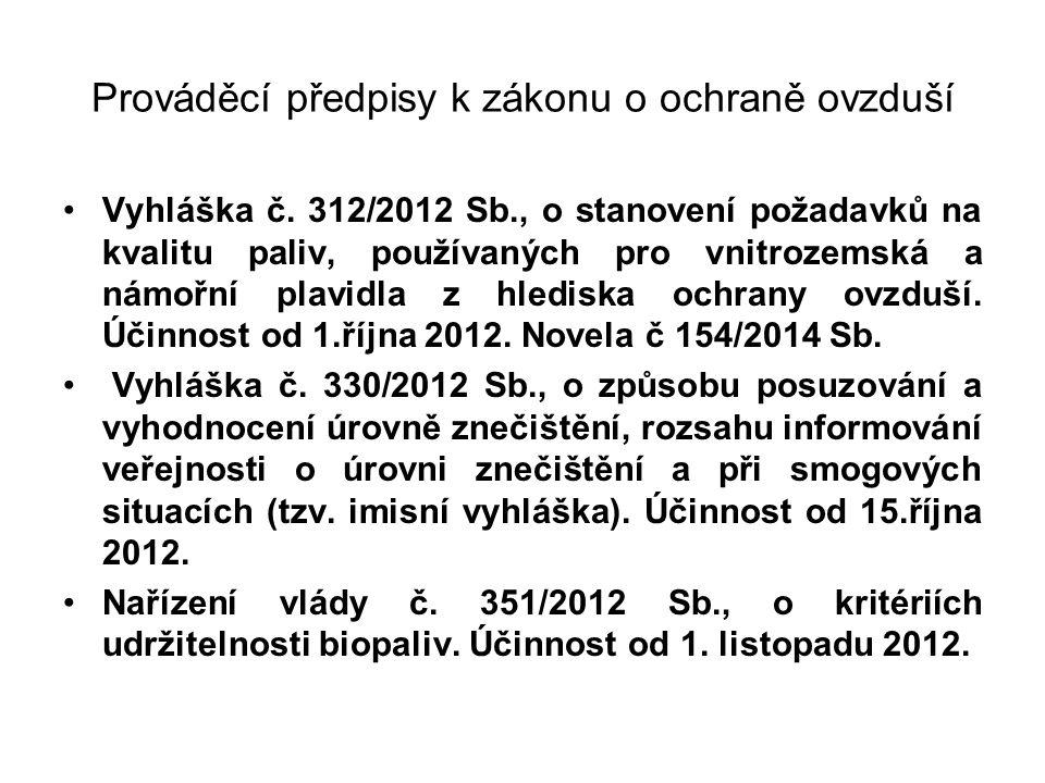 Prováděcí předpisy k zákonu o ochraně ovzduší Vyhláška č. 312/2012 Sb., o stanovení požadavků na kvalitu paliv, používaných pro vnitrozemská a námořní