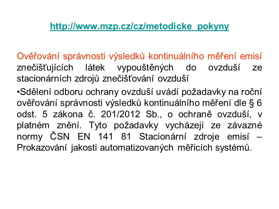 http://www.mzp.cz/cz/metodicke_pokyny Ověřování správnosti výsledků kontinuálního měření emisí znečišťujících látek vypouštěných do ovzduší ze stacion