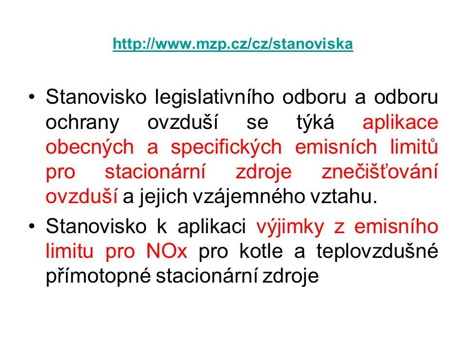http://www.mzp.cz/cz/stanoviska Stanovisko legislativního odboru a odboru ochrany ovzduší se týká aplikace obecných a specifických emisních limitů pro