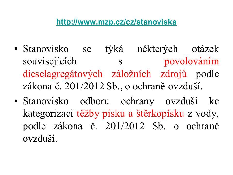 http://www.mzp.cz/cz/stanoviska Stanovisko se týká některých otázek souvisejících s povolováním dieselagregátových záložních zdrojů podle zákona č. 20