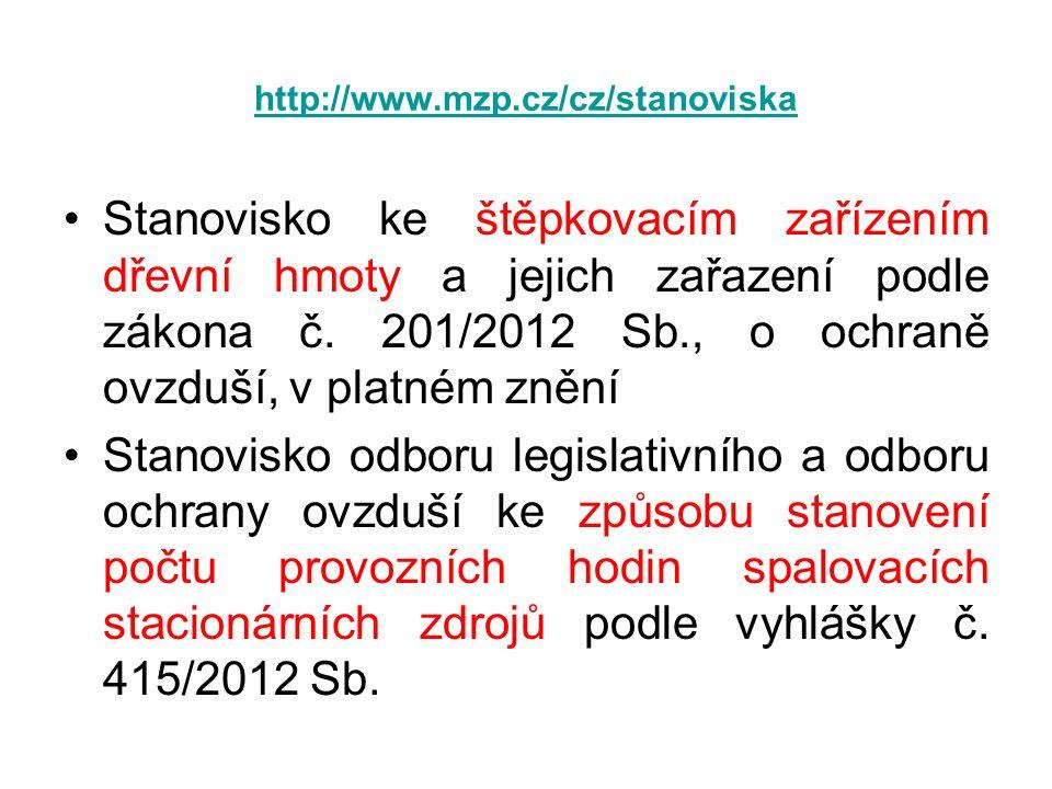 http://www.mzp.cz/cz/stanoviska Stanovisko ke štěpkovacím zařízením dřevní hmoty a jejich zařazení podle zákona č. 201/2012 Sb., o ochraně ovzduší, v