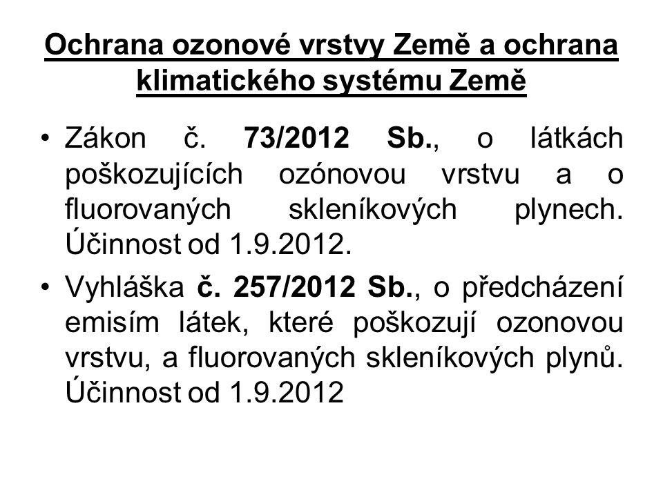 Ochrana ozonové vrstvy Země a ochrana klimatického systému Země Zákon č. 73/2012 Sb., o látkách poškozujících ozónovou vrstvu a o fluorovaných skleník