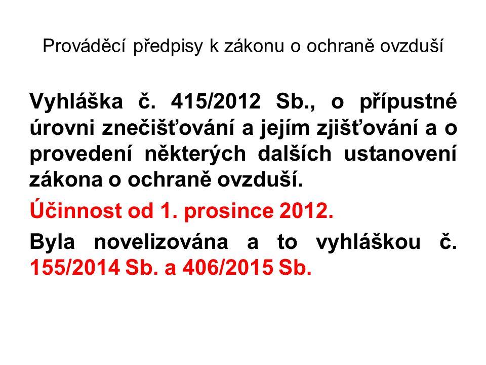 Prováděcí předpisy k zákonu o ochraně ovzduší Vyhláška č. 415/2012 Sb., o přípustné úrovni znečišťování a jejím zjišťování a o provedení některých dal