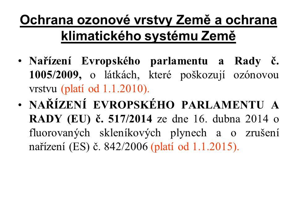 Ochrana ozonové vrstvy Země a ochrana klimatického systému Země Nařízení Evropského parlamentu a Rady č. 1005/2009, o látkách, které poškozují ozónovo