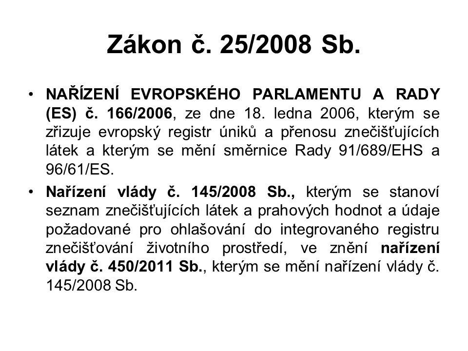 Zákon č. 25/2008 Sb. NAŘÍZENÍ EVROPSKÉHO PARLAMENTU A RADY (ES) č. 166/2006, ze dne 18. ledna 2006, kterým se zřizuje evropský registr úniků a přenosu