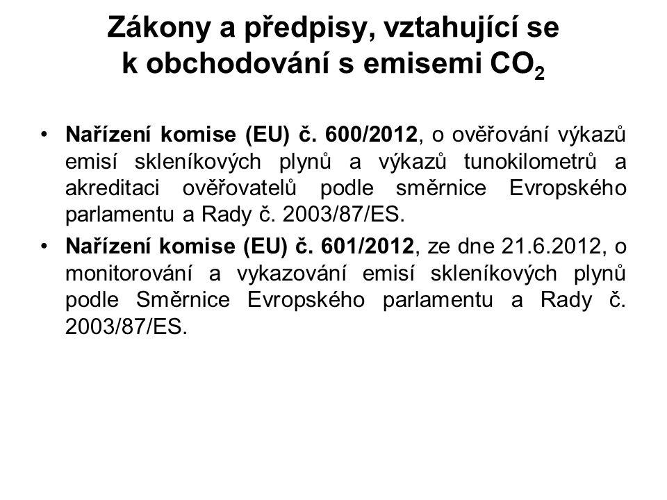 Zákony a předpisy, vztahující se k obchodování s emisemi CO 2 Nařízení komise (EU) č.