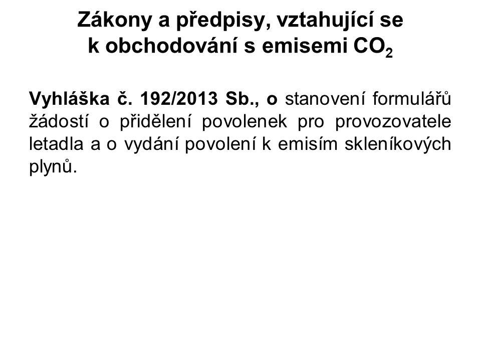 Zákony a předpisy, vztahující se k obchodování s emisemi CO 2 Vyhláška č. 192/2013 Sb., o stanovení formulářů žádostí o přidělení povolenek pro provoz