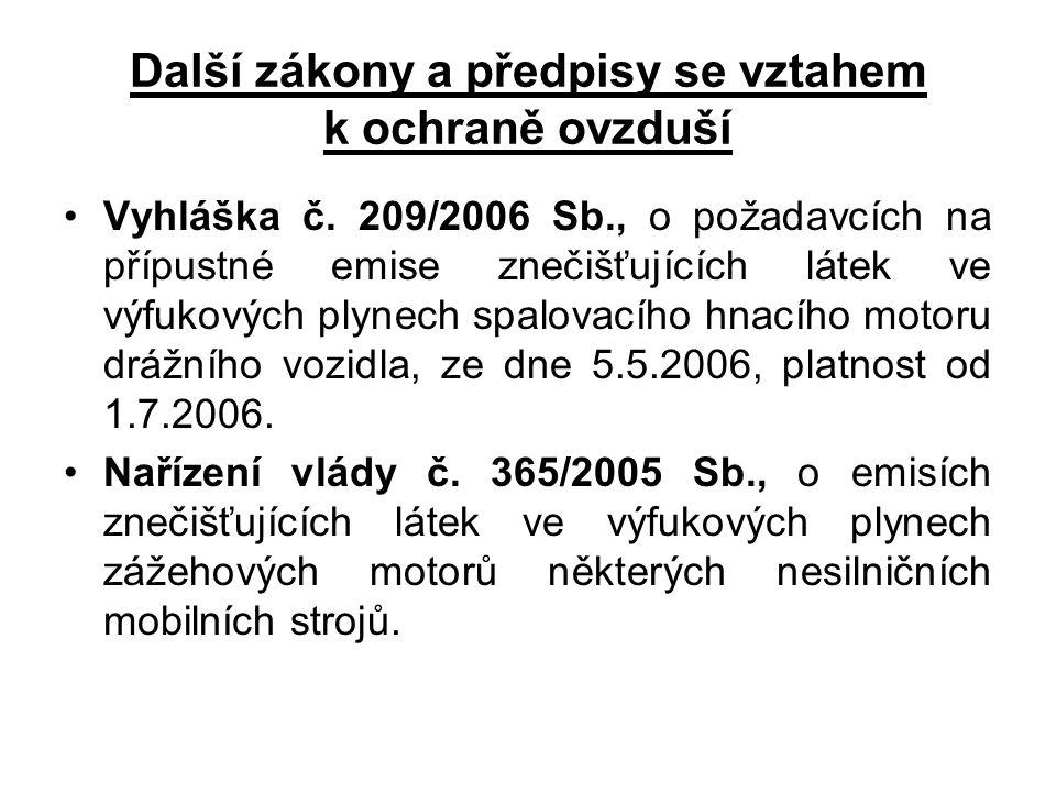 Další zákony a předpisy se vztahem k ochraně ovzduší Vyhláška č. 209/2006 Sb., o požadavcích na přípustné emise znečišťujících látek ve výfukových ply