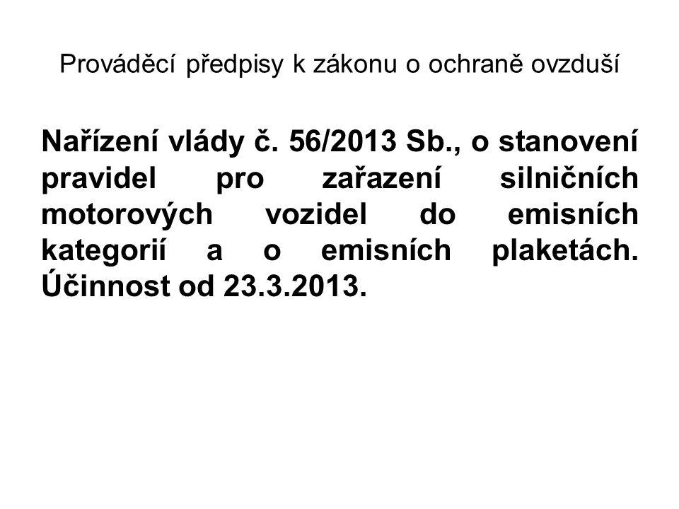Prováděcí předpisy k zákonu o ochraně ovzduší Nařízení vlády č. 56/2013 Sb., o stanovení pravidel pro zařazení silničních motorových vozidel do emisní