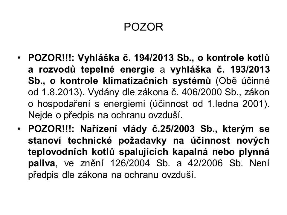 POZOR POZOR!!!: Vyhláška č. 194/2013 Sb., o kontrole kotlů a rozvodů tepelné energie a vyhláška č. 193/2013 Sb., o kontrole klimatizačních systémů (Ob