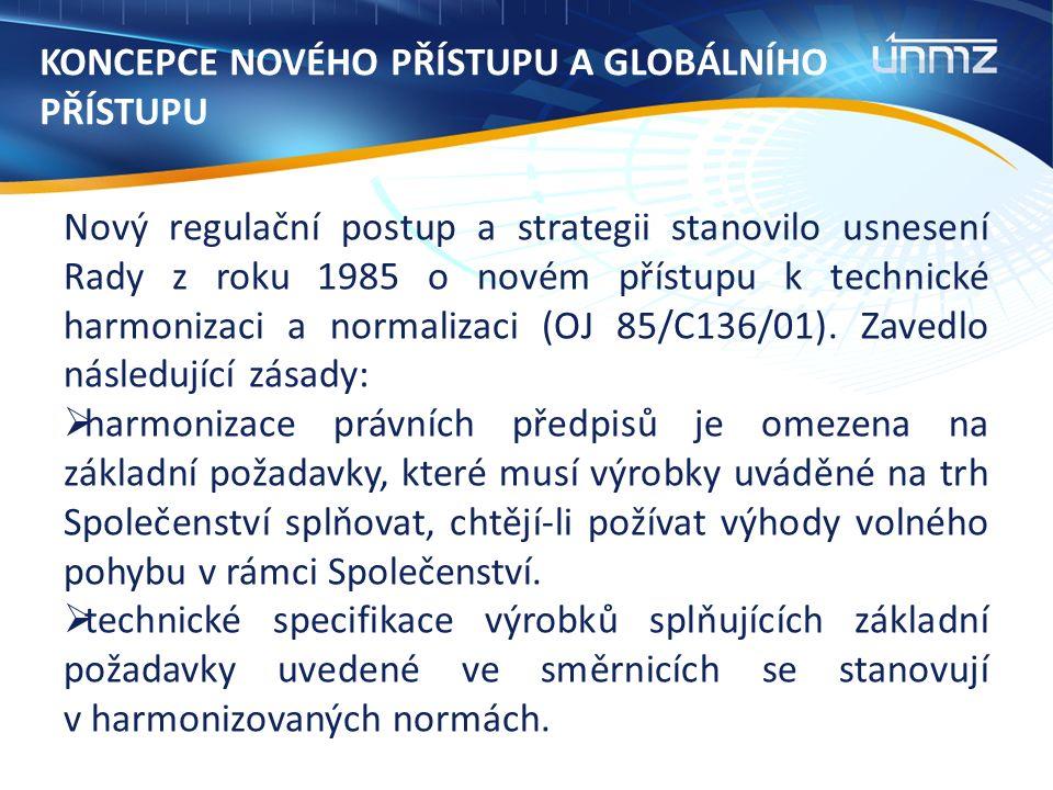 KONCEPCE NOVÉHO PŘÍSTUPU A GLOBÁLNÍHO PŘÍSTUPU Nový regulační postup a strategii stanovilo usnesení Rady z roku 1985 o novém přístupu k technické harmonizaci a normalizaci (OJ 85/C136/01).