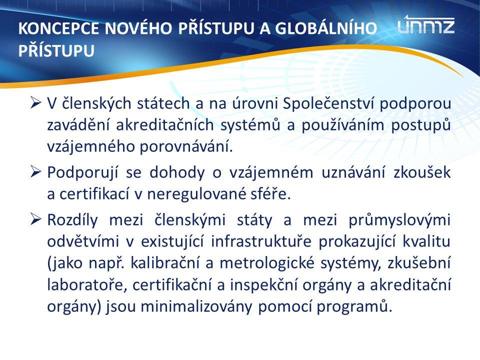 KONCEPCE NOVÉHO PŘÍSTUPU A GLOBÁLNÍHO PŘÍSTUPU  V členských státech a na úrovni Společenství podporou zavádění akreditačních systémů a používáním postupů vzájemného porovnávání.