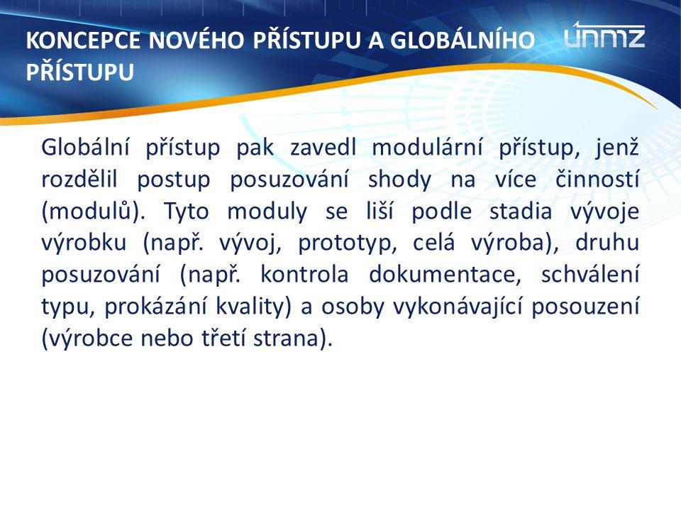 KONCEPCE NOVÉHO PŘÍSTUPU A GLOBÁLNÍHO PŘÍSTUPU Globální přístup pak zavedl modulární přístup, jenž rozdělil postup posuzování shody na více činností (modulů).