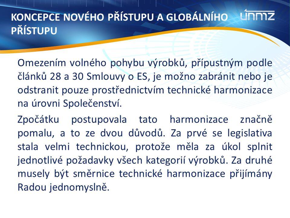 KONCEPCE NOVÉHO PŘÍSTUPU A GLOBÁLNÍHO PŘÍSTUPU Omezením volného pohybu výrobků, přípustným podle článků 28 a 30 Smlouvy o ES, je možno zabránit nebo je odstranit pouze prostřednictvím technické harmonizace na úrovni Společenství.