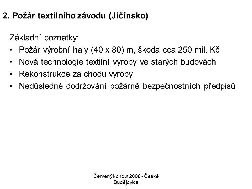 Červený kohout 2008 - České Budějovice 2.Požár textilního závodu (Jičínsko) Základní poznatky: Požár výrobní haly (40 x 80) m, škoda cca 250 mil.