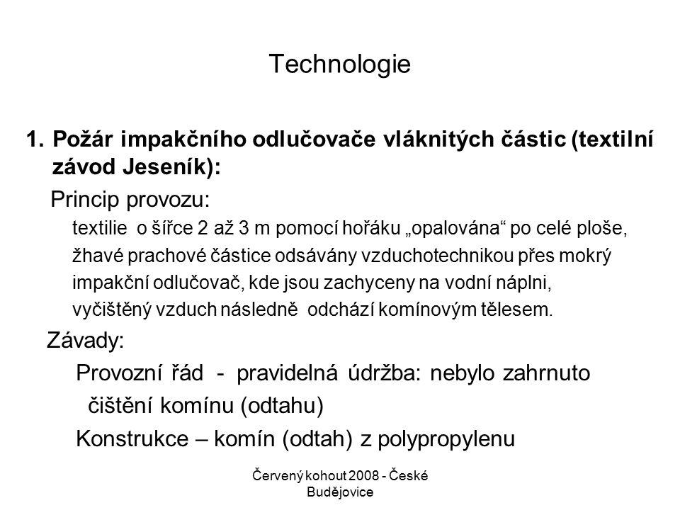 Červený kohout 2008 - České Budějovice Vysvětlení: Účinnost odlučovacího zařízení byla nastavena na minimálně 98%, tj.